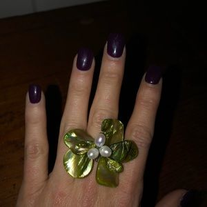 Jewelry - Large Green Flower Cocktail Ring